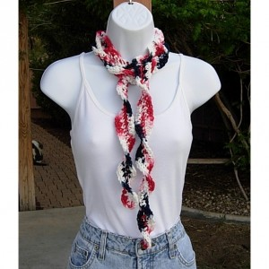 Red White and Blue Skinny 4th of July SUMMER SCARF Small 100% Cotton Spiral Crochet Knit Narrow Lightweight Patriotic Women's Scarf, Ready to Ship in 2 Days