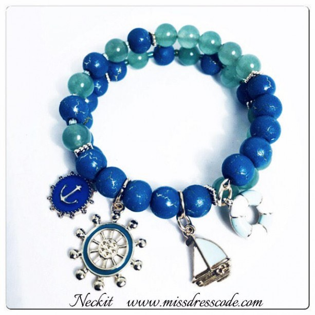 Nautical Themed Beaded Charm Bracelet