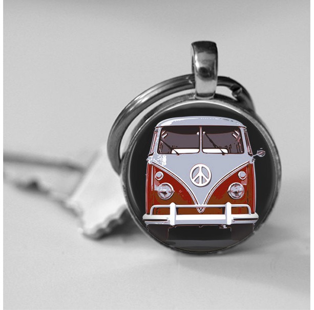 Retro Hippie Bus Photo Pendant Necklace or Key Chain