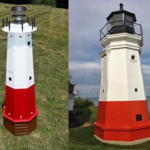 "48"" Solar lighthouse wooden wellhead cover decorative garden ornament - Vermilion lighthouse"