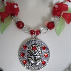 Red Rose Necklace, boho bohemian pin up victorian rockabilly