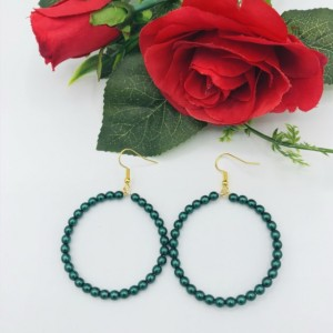 Green Pearl Hoop Earrings