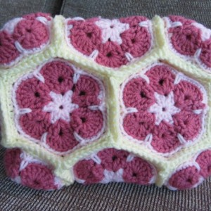 African Flower Crochet Purse, Crochet Bag, Flower Tote Bag, Crochet Bridesmaid Present