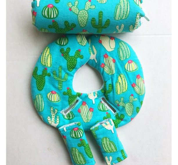 Car Seat Head Support, Cactus, Swans, Mint Green, Gender Neutral, Infant Head Support, Car Seat Strap Covers,Car Seat Cover