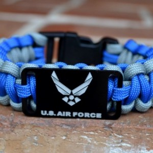 US Air Force Blue and Grey Paracord Bracelet w/ Black Plastic Buckle