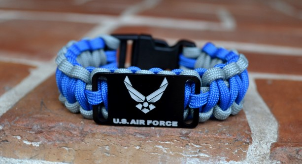 US Air Force Blue and Grey Paracord Bracelet w/ Black Plastic Buckle