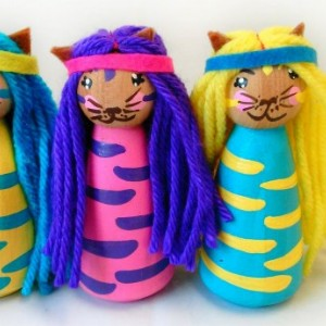 Princess kitty - Princess dolls - Kitty doll - Girls toys - Unique - Peg dolls - Cat - Stocking stuffer - Gift - Kids toys - Wooden doll