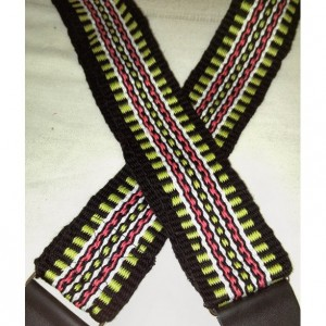 """Handwoven Guitar Strap, Acoustic Guitar Strap, Electric Guitar Strap, Banjo Strap, Bass Strap,green, salmon, white, and black 2 1/4"""""""