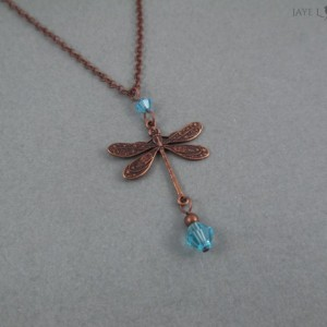 Copper Dragonfly Charm Necklace