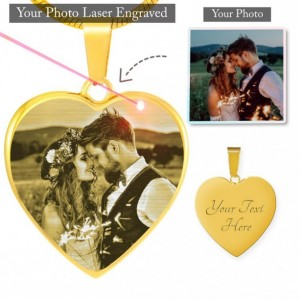 Personalized Photo Etched Heart Necklace - Stainless Steel