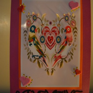 Handmade Love Birds Valentines Day Card