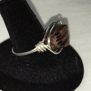 Wooden Bead in Silver Wire Wrapped Ring Size 9