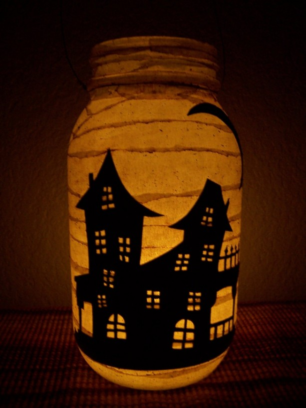 Grungy Primitive Halloween Haunted House Lantern Light Luminary Porch Mantel Decoration Table Centerpiece Office Camping Gift Wedding Fall