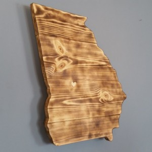 Rustic Georgia State Sign/Plaque, add an engraved heart to your location
