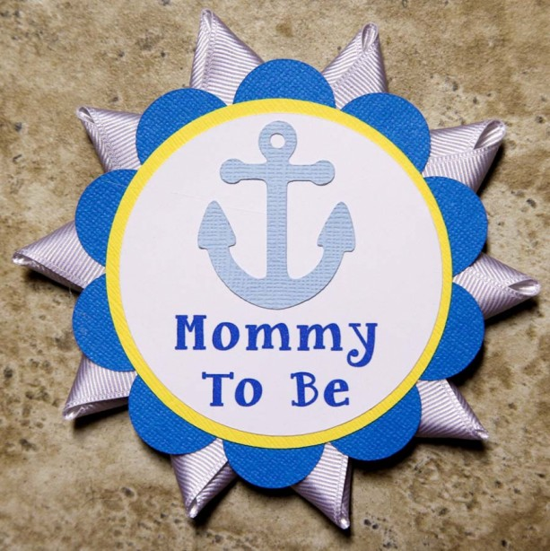 Anchor ocean theme name tag button pins for Baby Shower or Birthday Party (Quantity 2)