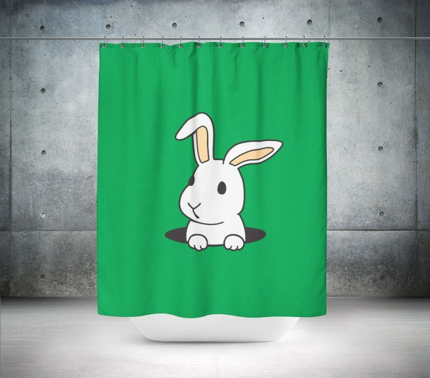 Golf Bunny Shower Curtain
