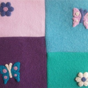 Cashmere Throw Blanket - Large: 40 x 48 - Made to Order - Patchwork Quilt - flowers, butterflies appliques Pink Purple Aqua Toddler/adult
