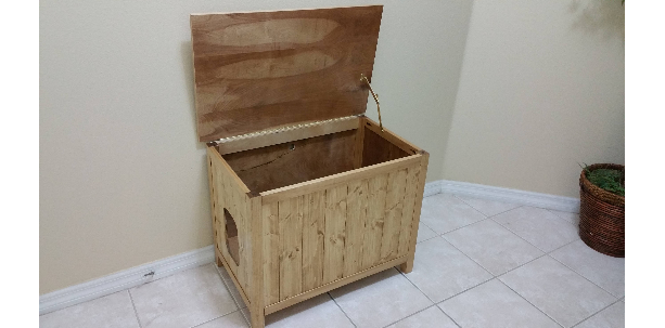 Medium, Odor Free, Custom, Hand Made in USA, Wood Cat Litter Box Chest. No Assembly Needed. Not MDF