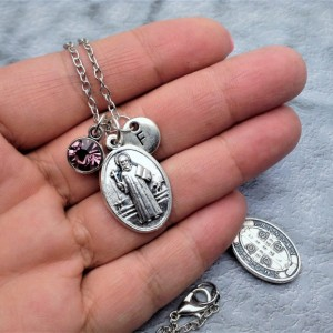 Personalized Silver Plated Saint Benedict Necklace