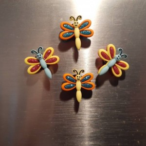 Magnets, 4 Strong Refrigerator Magnets, Cubicle Decor, Locker Magnets, Office Supply,Butterfly, Glitter