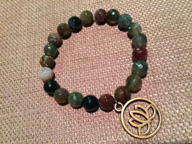 Indian agate and lotus flower stretch bracelet