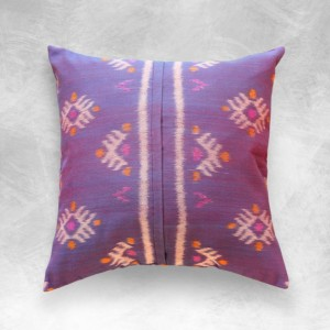 "Woven ""Purple Sasak""  Ikat 18 x 18 inches Pillow, Handmade Lombok Decorative Pillow for modern interior decor"