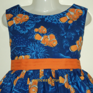 NEW Handmade Disney Nemo Clown Fish Blue Dress Custom Sz 12M-14Yrs