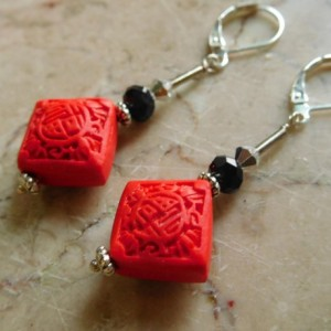Square Red Cinnabar carve earrings, with silver tone lever back earrings. #E00308