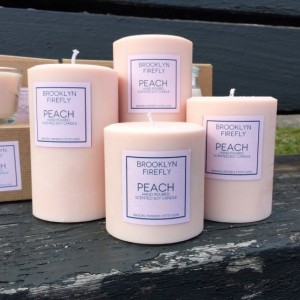Peach Candles. FREE SHIPPING. Scented Soy. Set of 4 Round Pillars.