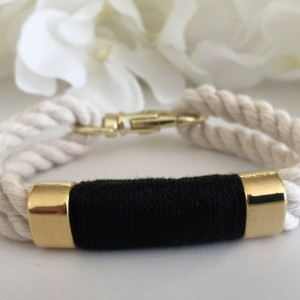 Nautical White Rope Bracelet with Black Wrap