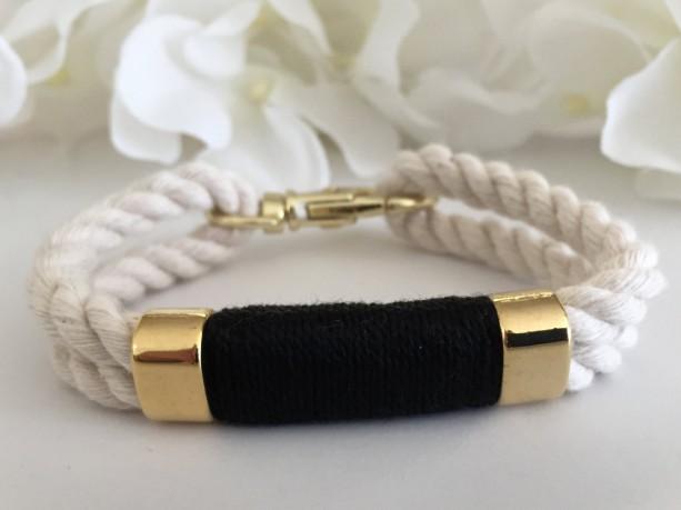 Nautical White Rope Bracelet with Black Wrap