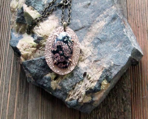 Bronze Metal Clay With Firecracker Jasper Pendant
