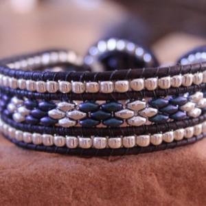 Cedar Trail Bead Works: hand beaded three row Western theme bracelet