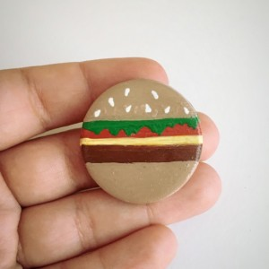 Handmade Brooch Cheeseburger Pin Clay Food burger Artisan Jewelry Accessory