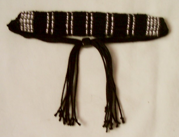Black Hand Woven Bracelet with Clear Seed Beads