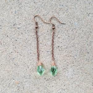 Tear drop earrings in green