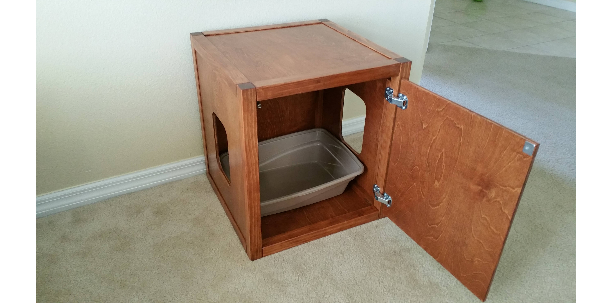 Cat Litter Box Cube, Wood not MDF, Made in USA, Choose Your Stain and Opening Position