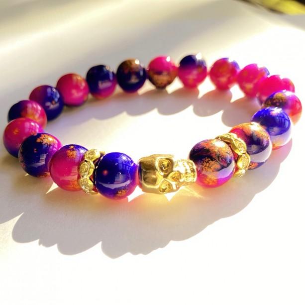 Pink & Purple Skull Bracelet
