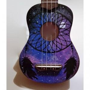 Concert Dream Catcher Galaxy Glow Ukulele, Hand Painted Ukulele, Decorated Ukulele,Galaxy Paint,instrument, soprano, tenor, baritone, guitar