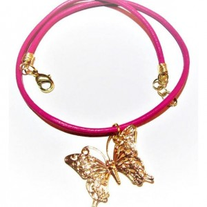 Hot Pink Leather Choker, Gold Pendant Choker, Gold Butterfly Pendant Choker, Beaded Jewelry, Gift for Her, Gift for Sister, Jewelry On Sale