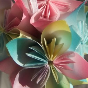 Origami Small Flower Ornament, Pastel Ornament, Christmas Tree Ornament, Decorative Fan Pull, Flower Ball, Wedding Decor, Flower Decor,