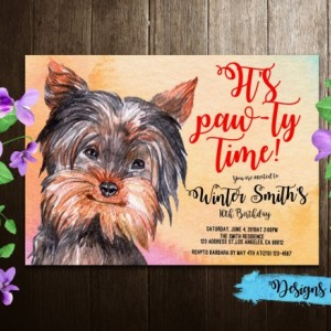Yorkshire Terrier Birthday Printable Invitation