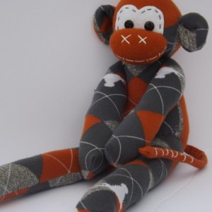 Sock monkey : Barney ( Longhorns)  ~ The original handmade plush animal made by Chiki Monkeys