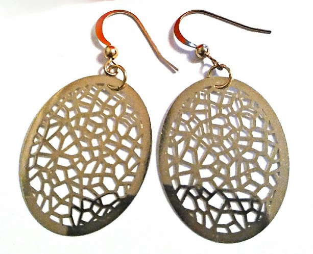 Gold Oval Filigree Earrings, Latice Design Earrings, Everyday Earrings, Unique Earrings, Birthday Gift, Jewelry on Sale, Jewelry for Work