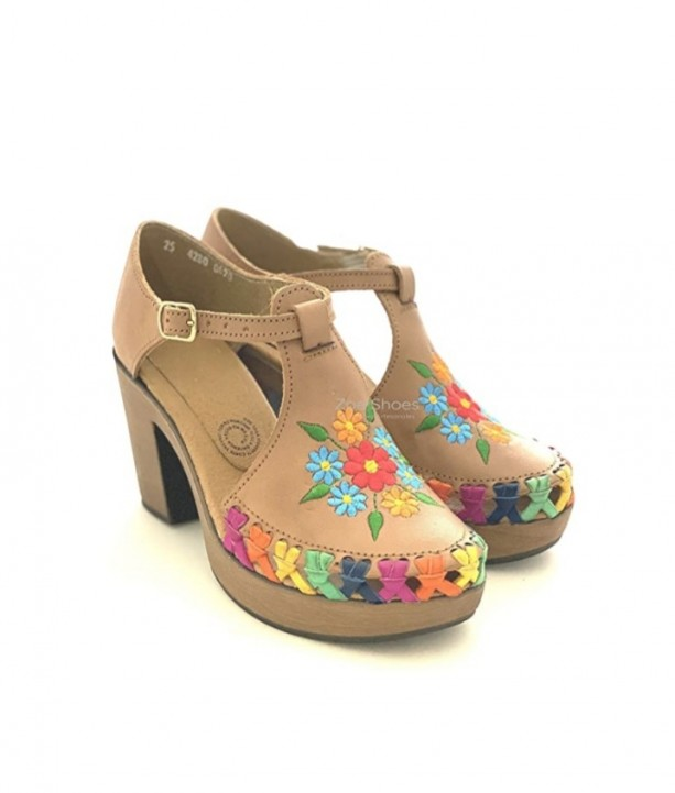 Mexican Huarache Embroidered with Flowers For Women