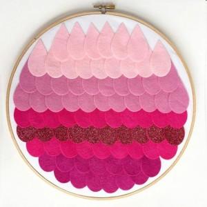 Pink Ombre Nursery Hoop Art
