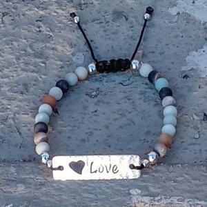 Natural Amazonite Love I.d Link Bracelet | Adjustable Ladies Gemstone Bracelet & Love Engraved I.d Bar Bracelet | Square Knot Sliding Clasp
