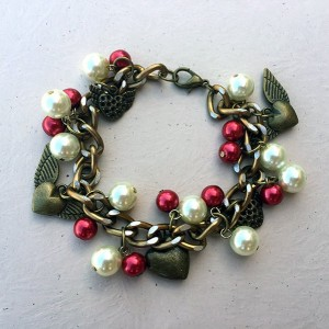 Winged Love Heart Charm Bracelet in bronze with red and white glass pearl dangles 129625