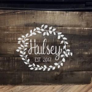 Family name established sign, custom personalized sign, wedding reception decor, wedding gift, family last name wood sign, pallet name sign