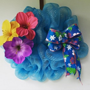 Hibiscus Flower Deco Mesh Wreath